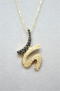 18K (750) Solid Yellow Gold Pendant Necklace w/ Black and White Sapphires