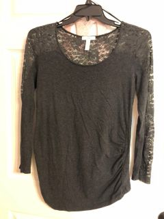 Size XL Gray Maternity Longsleeve Lace Top
