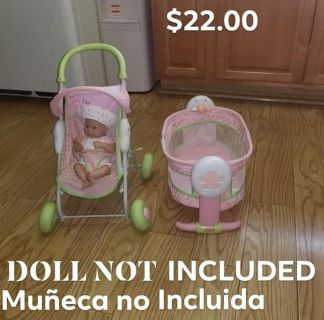 FISHER PRICE DOLL STROLLER AND ROCKING BASSINET