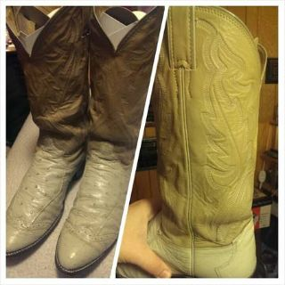 Very nice old pair of Justin Ostrich boots (monroe)