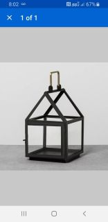 """Hearth and Hand Black Lantern. New with Tags. Still in Wrap. 11"""" H x 6.75"""" W x 7"""" D."""