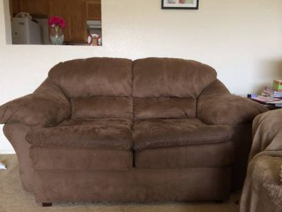 Brown microfiber sofa and love seat $450