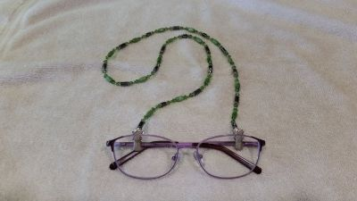 Eye Glass Holder, Fiber Optic Green and Crystal* Glass Beads, with Hemalite, and Grip Clips
