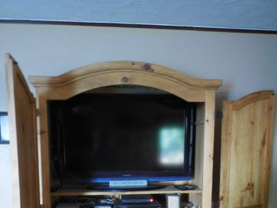 "Entertainment Center holds an 42"" and 30 inch high flat screen. Storage and 2 drawers"