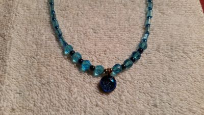 """Handcrafted Beaded Necklace, Blue Moon, 18"""" Long"""