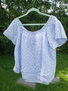 Blue and white striped off the shoulder top