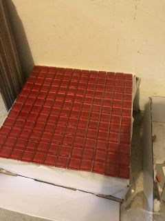 Glass tile, red, 1 x 1 tiles in a 12 x 12 sheet.