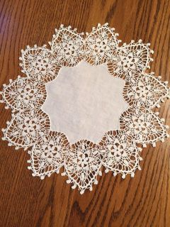 13 Vintage Linen and Crocheted Lace Snowflake Doily