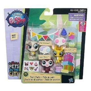 NEW Littlest Pet Shop PARK PARTY In The City Babaco Wolferman Swiftbrook #'s 89 90 91