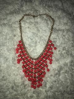 Short Gold Chain Coral Pink Bubble Bead Necklace
