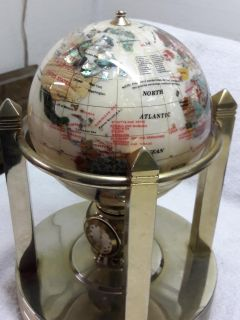 Mother of pearl table top globe with spinning pedistal