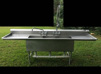 Stainless Steel 3 Bay Commercial Sink