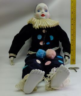 "VINTAGE 24"" Tall PIERROT PORCELAIN MUSICAL CLOWN DOLL - RARE"