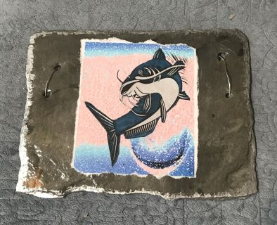 Catfish with color on NOLA slate ( Sample) slate approximate size is 10x8