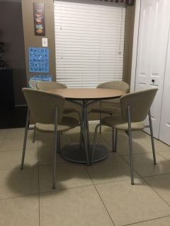 Dining/Crafting Table and 4 Upholstered Chairs