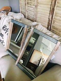 Set of distressed wood and metal mirrors