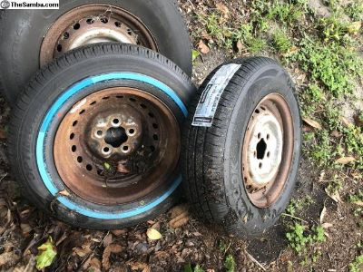 Set of late bay bus wheels with new tires