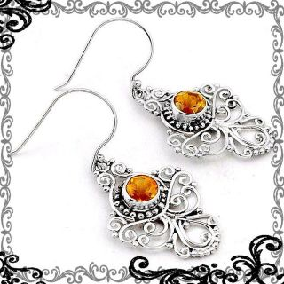 New - Natural Brazilian Yellow Citrine 925 Sterling Silver Earrings