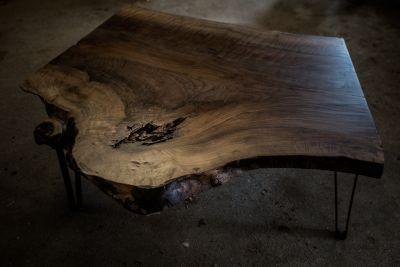 Live edge Black Walnut coffee table, w/ flat metal
