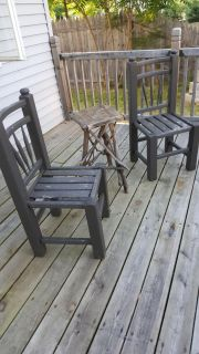 Amish chairs and a little table made with sticks