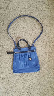 Leather SAK top handle & crossbody purse w/ side pocket and two pouch pockets and zippered pocke...