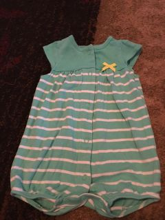 Carters 6m turq/wht strpd romper - ppu (near old chemstrand & 29) or PU @ the Marcus Pointe Thrift Store (on W st)