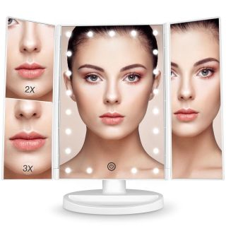 LED Lighted Tri-Fold Makeup Mirror with 1x/2x/3x Magnification 21-LED Lights, Touch Dimmer, Brighter and 180-Degree Rotation, USB Cable or B