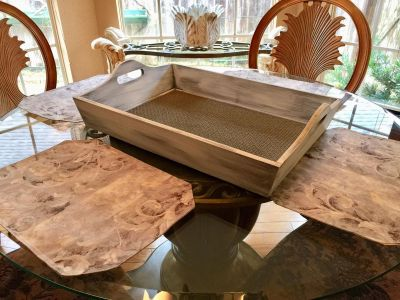 LARGE ...Decorative tray 24 long x 17 wide and 3 1/2 deep.. made of wood ..FARMHOUSE LOOK