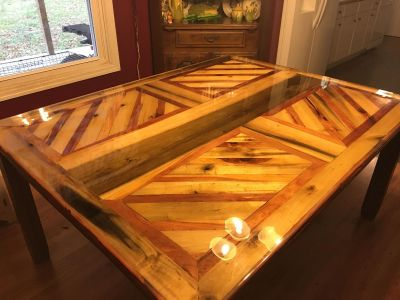 Hand made wood table