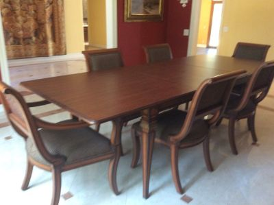 Wood Dining Table Set with 6 chairs 110.5 in long x 43in wide with two 15.75in x 43in leaves
