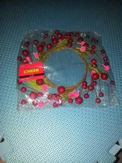 Cranberry, faux twig and leaf candle ring nwt