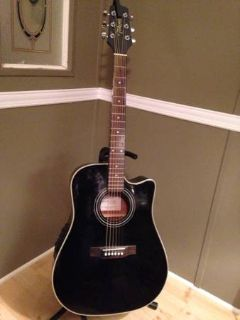 Acoustic  Electric Takamine Guitar and Fender 15G Practice Amp