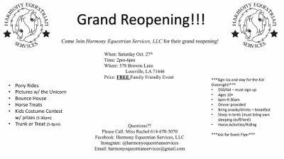 Horseback Riding Grand Reopening Event