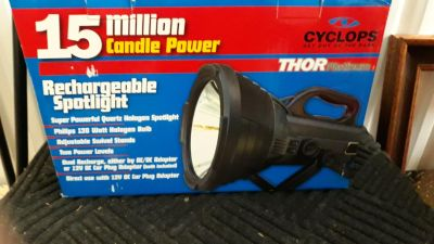 Cyclops 15 million candlepower rechargeable spotlight was 70 new it's still brand new in the box