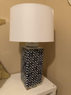 Gorgeous navy blue print lamp with white shade