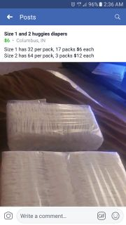Huggies diapers size 1 and 2