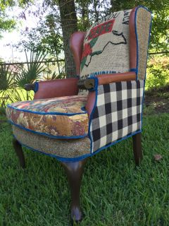 Rustic Headboard & Coffee Sack Chair- upcycled, professionally re-upholstered