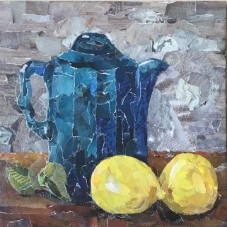 """Blue Teapot with Lemons"" Collage"