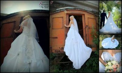 Wedding dress and veil for sale