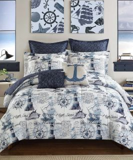 Nautical-Navy-Blue-Comforter-Set-Queen-Size-7pc-Reversible-Bed-Sheet-Set