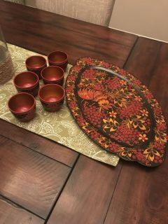Russian tea cups and platter