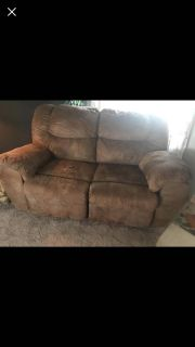 $250 Brown microsuede couch and loveseat