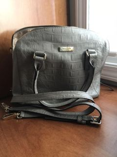 Kate Spade purse gray textured leather