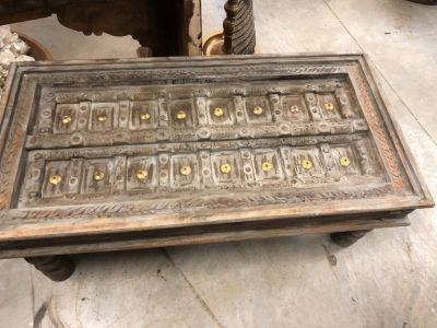 Antique Coffee Table Gray Tones Hand crafted Accent Vintage OCCASIONAL Furniture