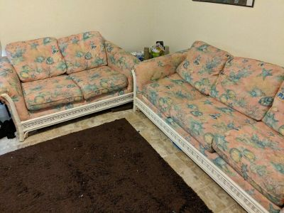 Couch and love seat. Sea shell and wicker