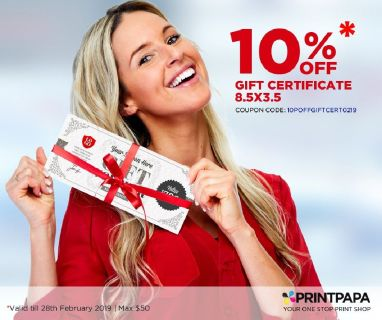10% off on Gift Certificates