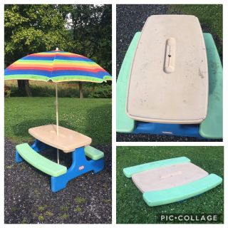 Little Tikes Picnic Table, folds flat for storage, needs cleaned (has paint/nail polish on table top & seats)