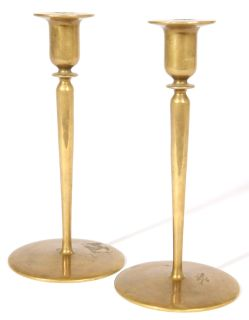 Arts & Crafts Movement Solid Brass Candle Sticks