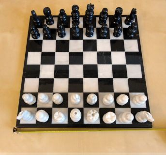 Marble Chess Set 13''x13'' in Marble Board,Large Black & White Marble 32 Pieces