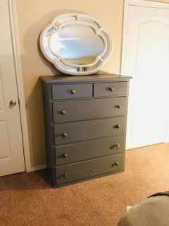 Solid Wood Grey Dresser with Gold Knobs